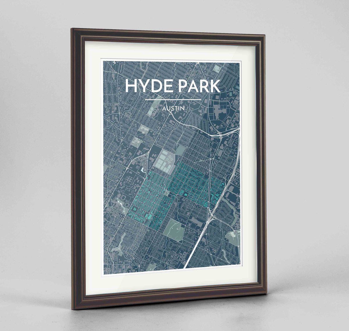 "Framed Hyde Park Neighbourhood of Austin Map Art Print 24x36"" Traditional Walnut frame Point Two Design Group"