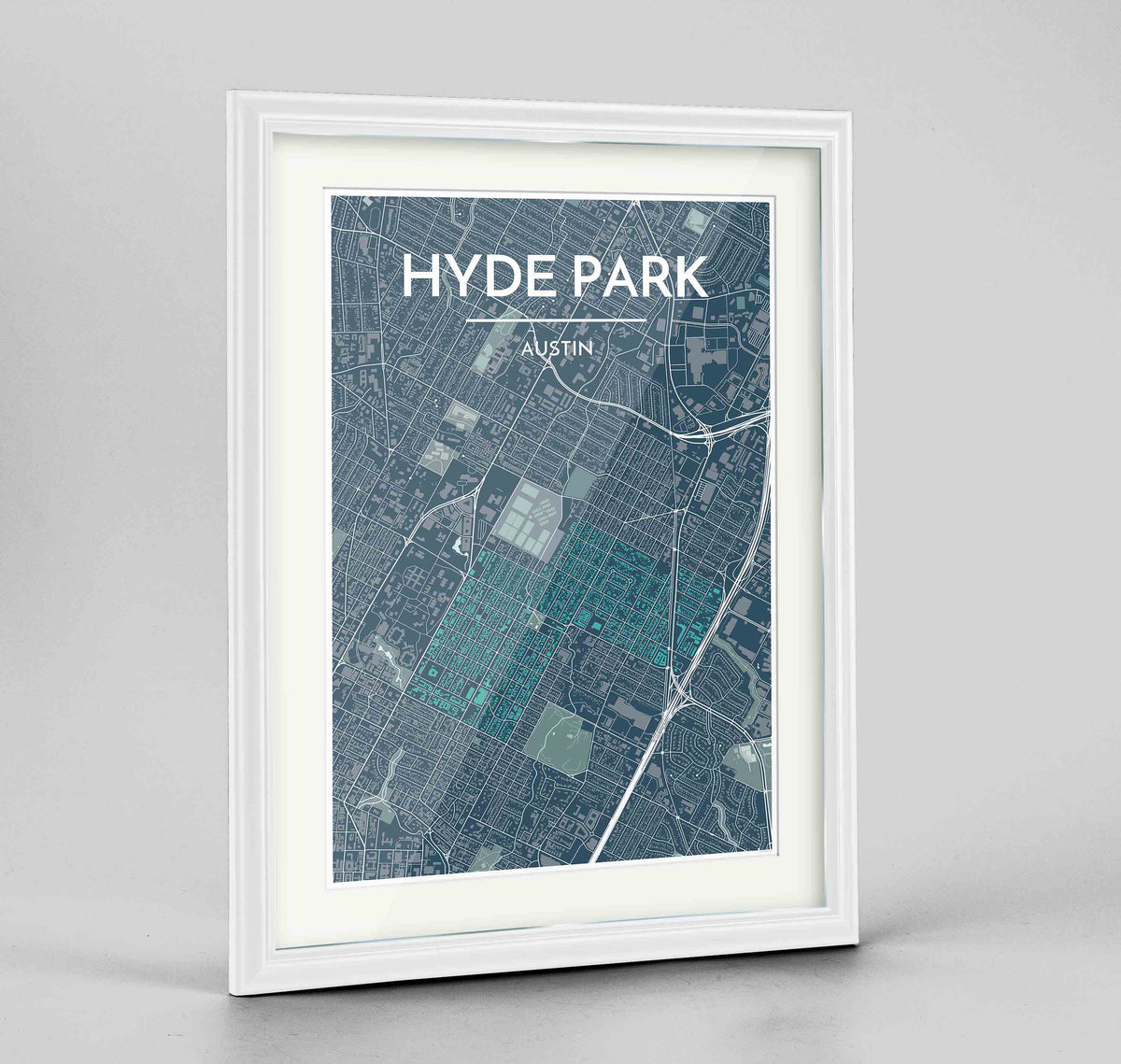 "Framed Hyde Park Neighbourhood of Austin Map Art Print 24x36"" Traditional White frame Point Two Design Group"