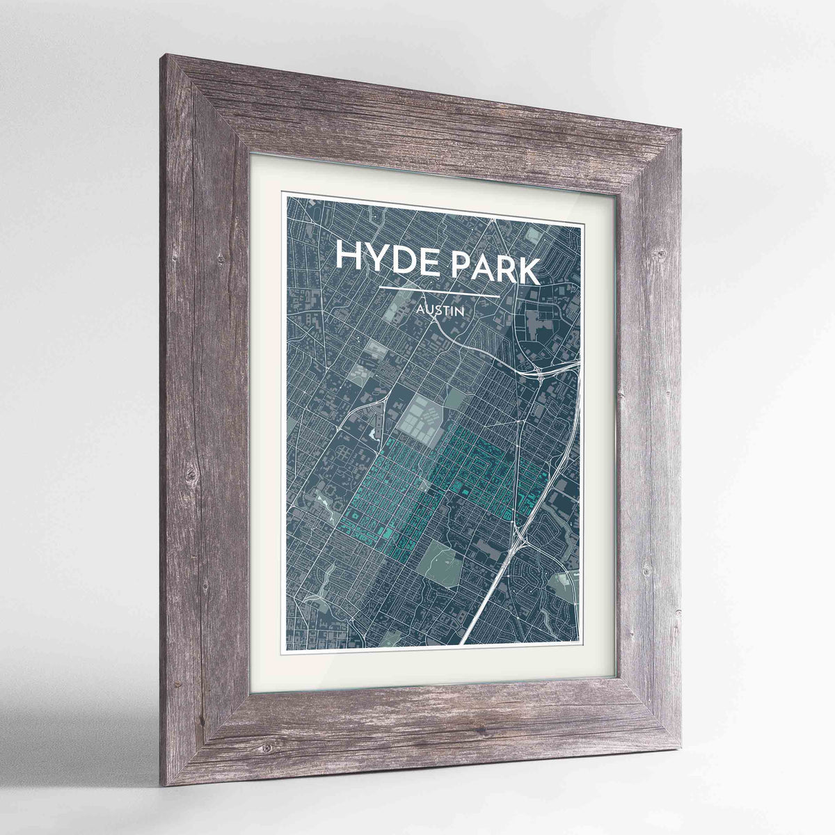 "Framed Hyde Park Neighbourhood of Austin Map Art Print 24x36"" Western Grey frame Point Two Design Group"