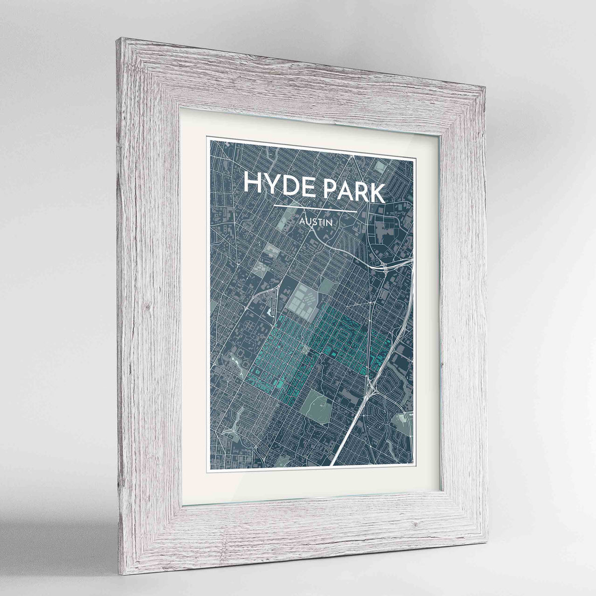 "Framed Hyde Park Neighbourhood of Austin Map Art Print 24x36"" Western White frame Point Two Design Group"