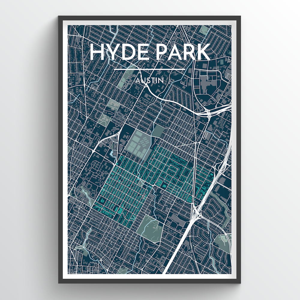 Hyde Park Neighbourhood of Austin Map Art Print - Point Two Design