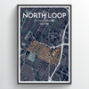 North Loop Neighbourhood of Austin City Map Art Print - Point Two Design