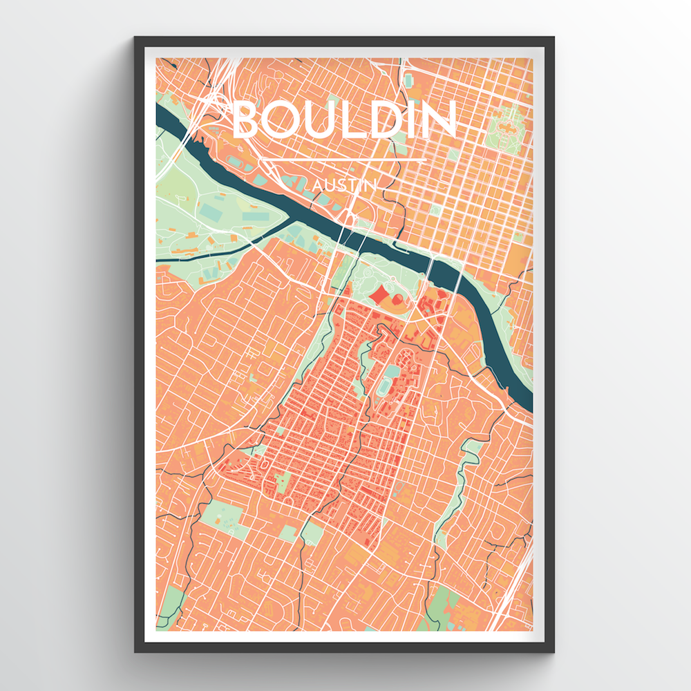 Bouldin Neighbourhood of Austin Map Art Print - Point Two Design