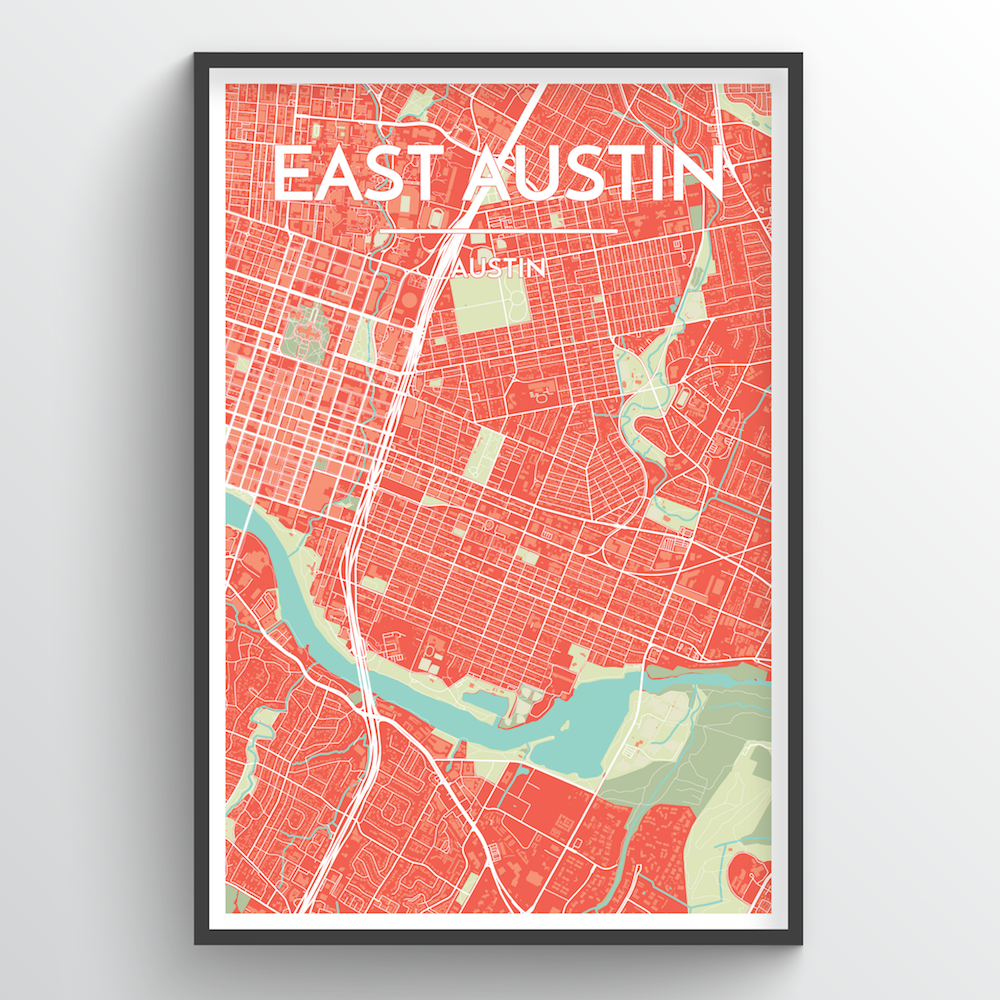 East Austin Neighbourhood of Austin Map Art Print - Point Two Design