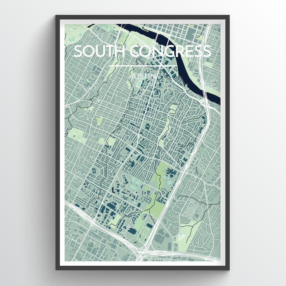 South Congress Neighbourhood of Austin City Map Art Print - Point Two Design