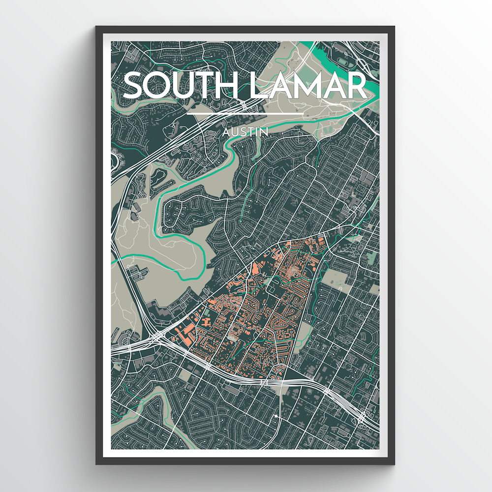 South Lamar Neighbourhood of Austin City Map Art Print - Point Two Design