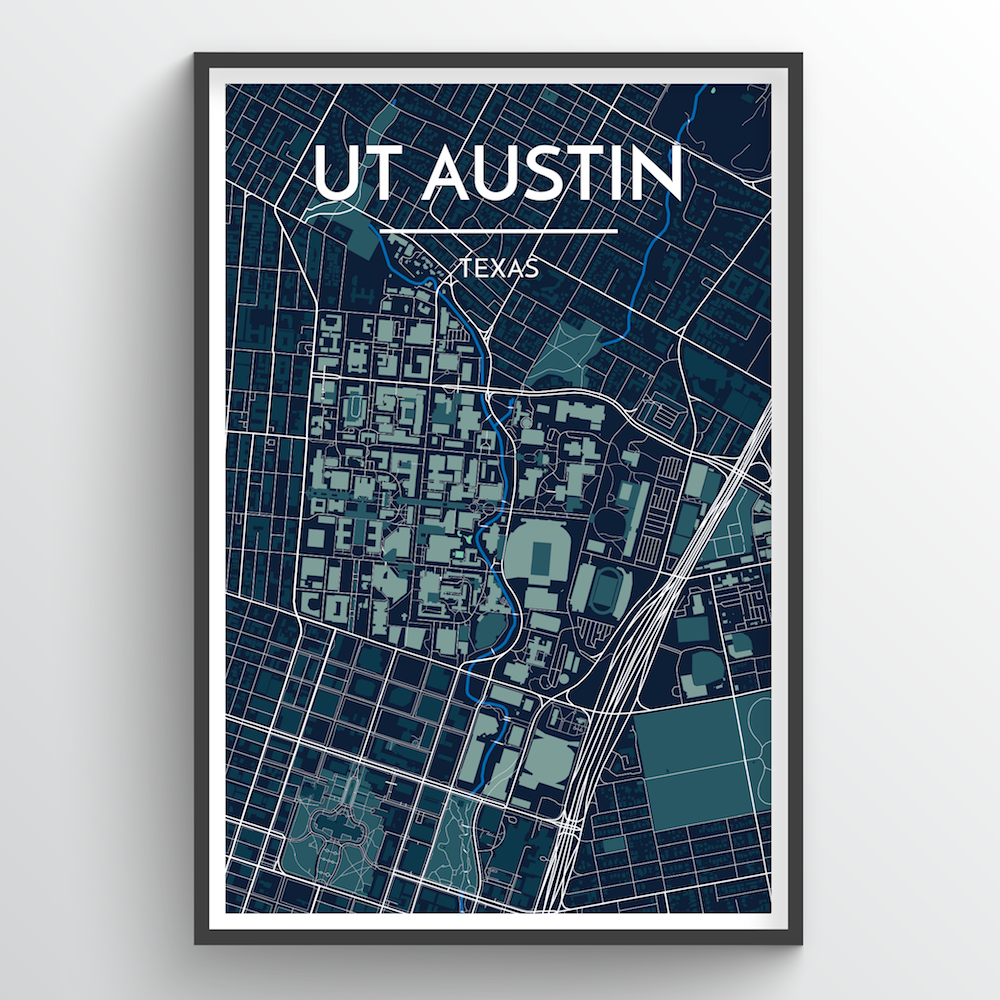 University of Texas Austin City Map Art Print - Point Two Design