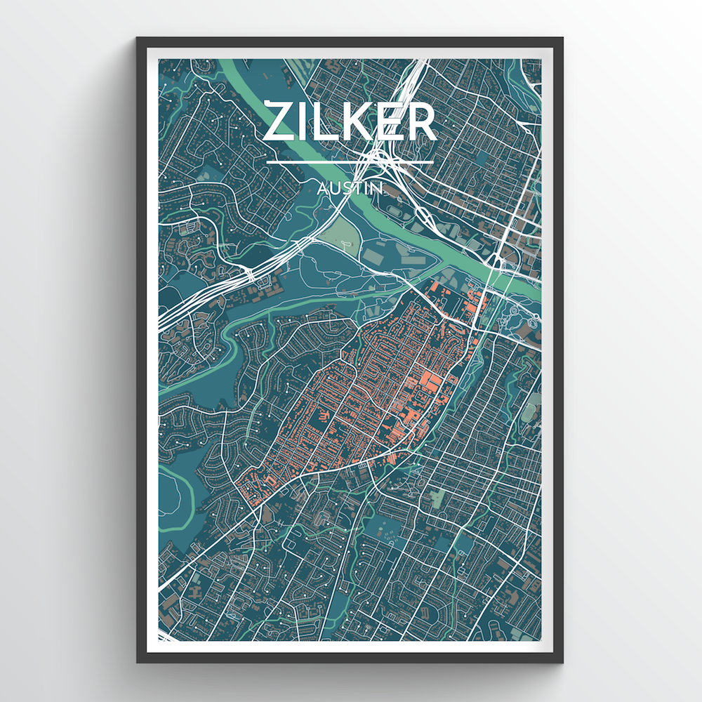 Zilker Neighbourhood of Austin City Map Art Print - Point Two Design