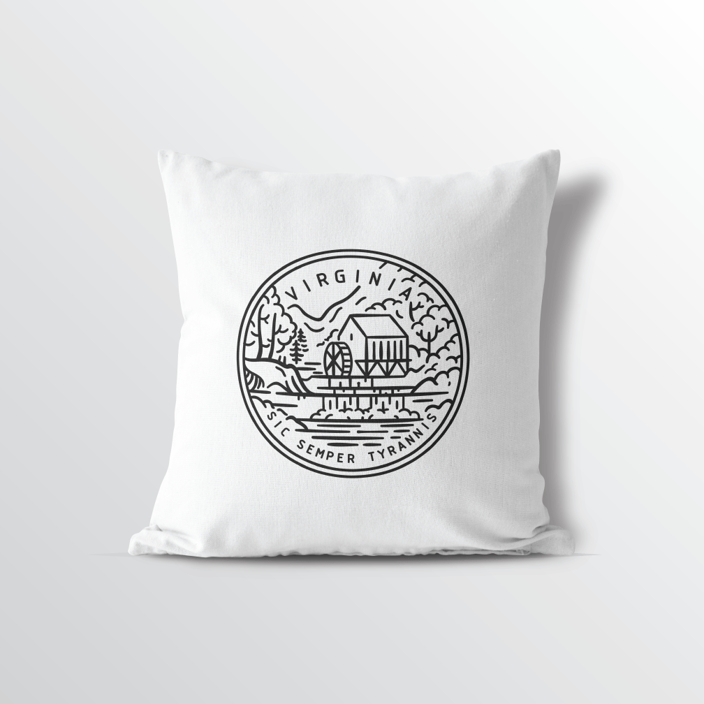 Virginia State Crest Throw Pillow