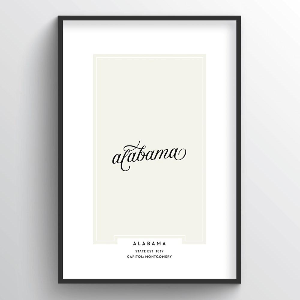 "Alabama Word Art Print - ""Script"" - Point Two Design"