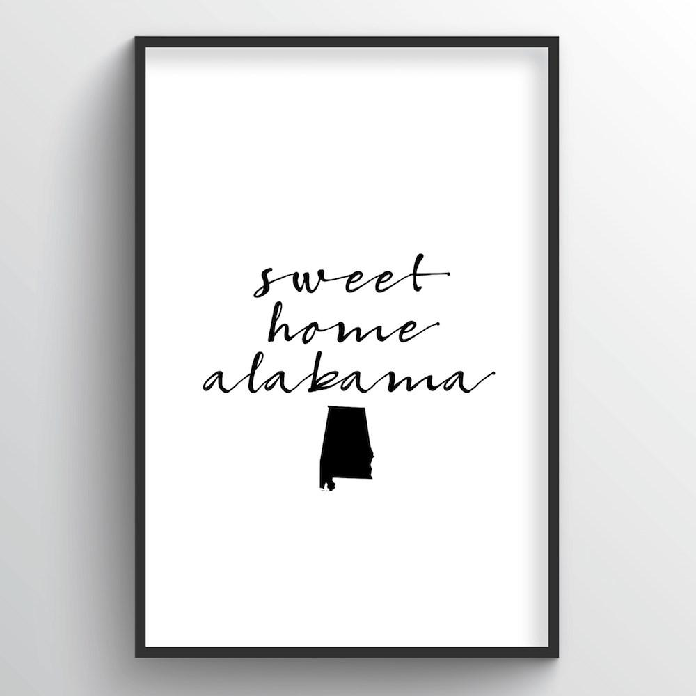 "Alabama Word Art Print - ""Slogan"" - Point Two Design"