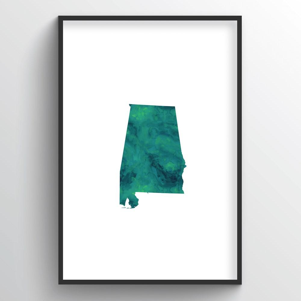 "Alabama Word Art Print - ""Watercolor"" - Point Two Design"