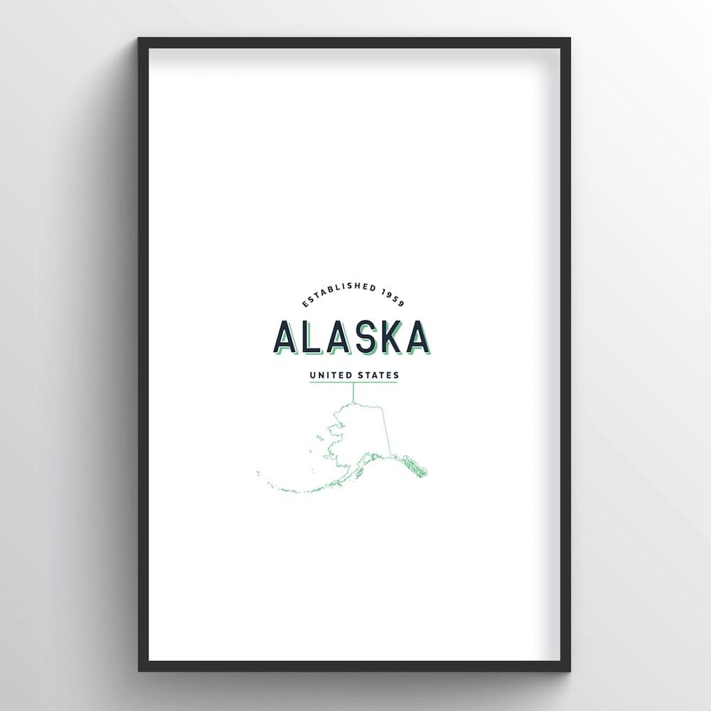 Alaska Word Art Print - State Line - Point Two Design