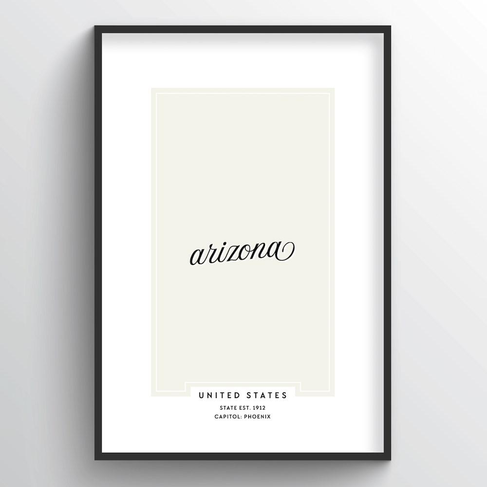 "Arizona Word Art Print - ""Script"" - Point Two Design"