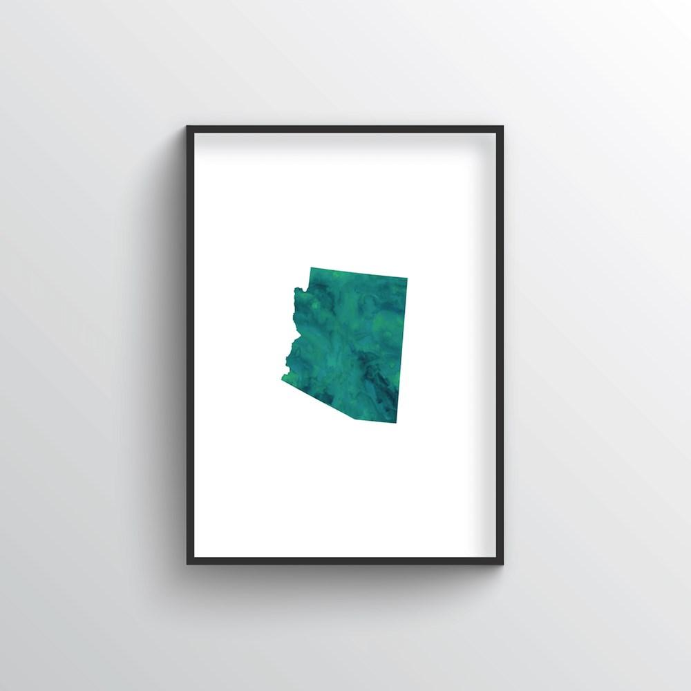 "Arizona Word Art Print - ""Watercolor"" - Point Two Design"