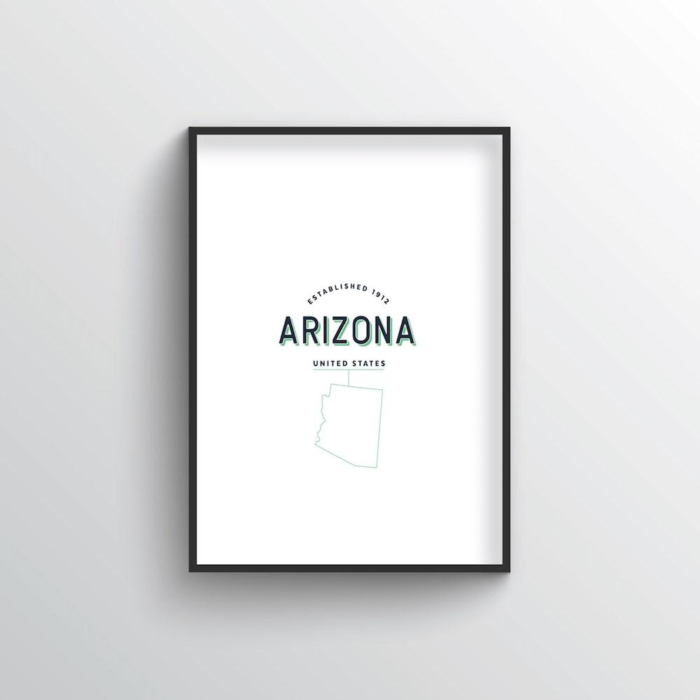 Arizona Word Art Print - State Line - Point Two Design