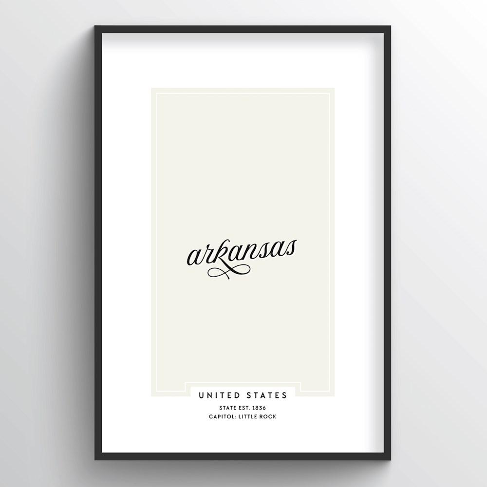 "Arkansas Word Art Print - ""Script"" - Point Two Design"