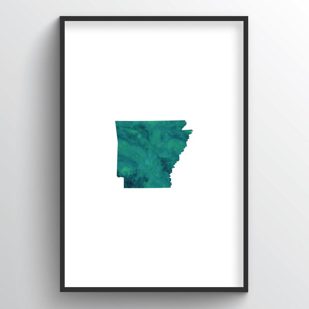 "Arkansas Word Art Print - ""Watercolor"" - Point Two Design"