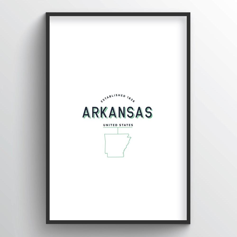 Arkansas Word Art Print - State Line - Point Two Design