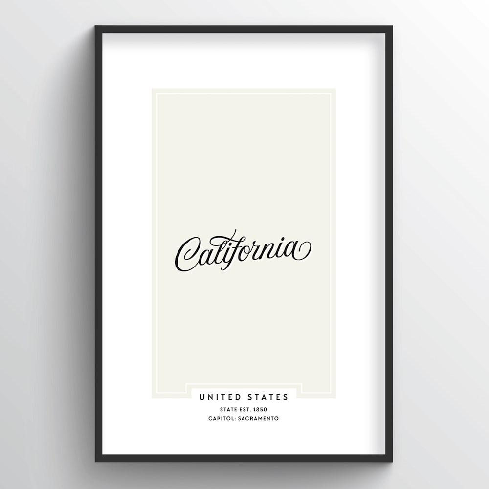 "California Word Art Print - ""Script"" - Point Two Design"