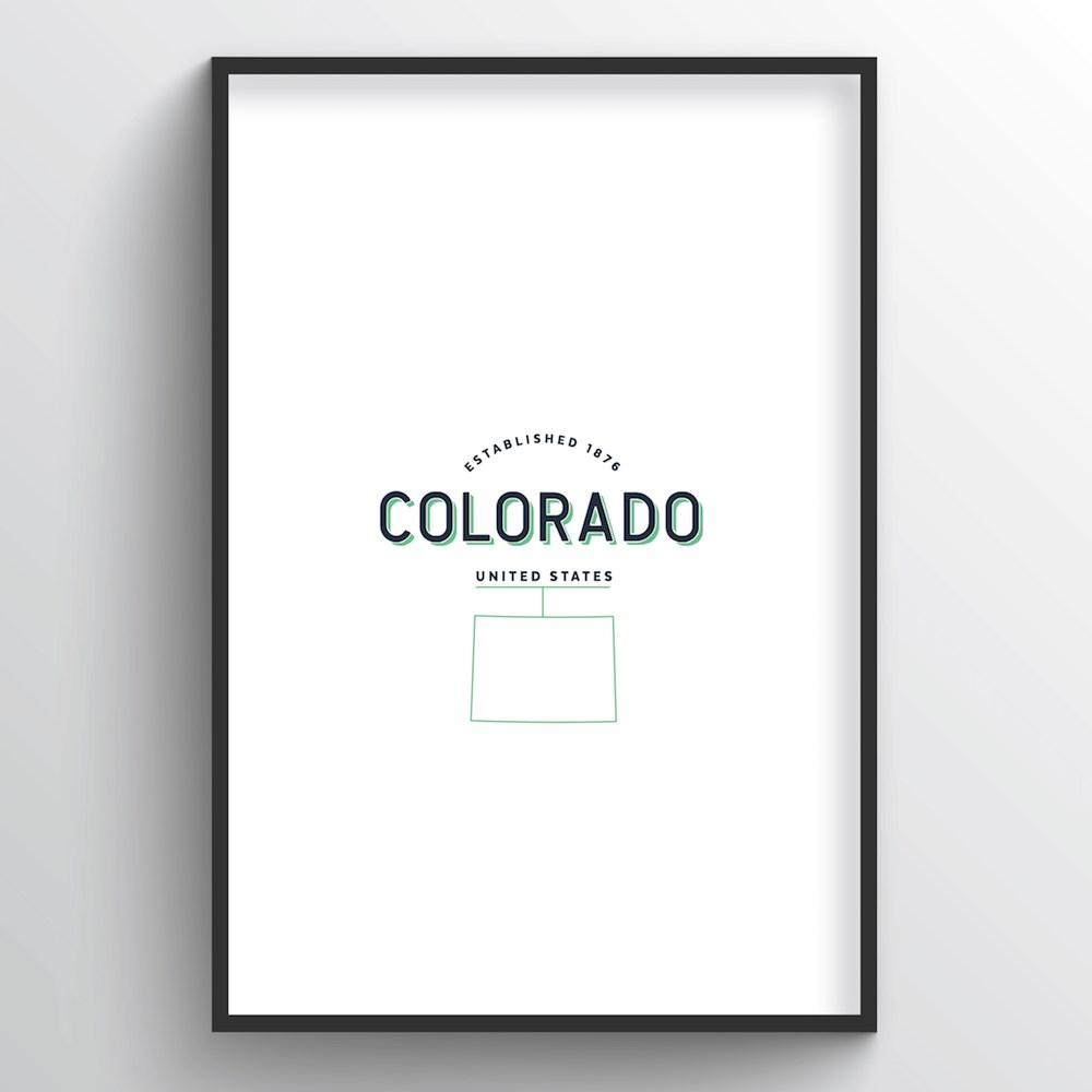 Colorado Word Art Print - State Line - Point Two Design