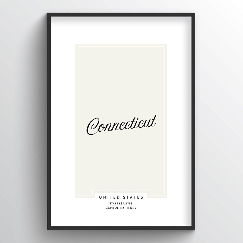 "Connecticut Word Art Print - ""Script"" - Point Two Design"