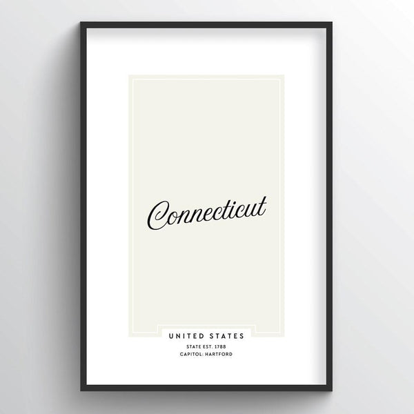 "Connecticut Word Art - ""Script"" - Point Two Design"