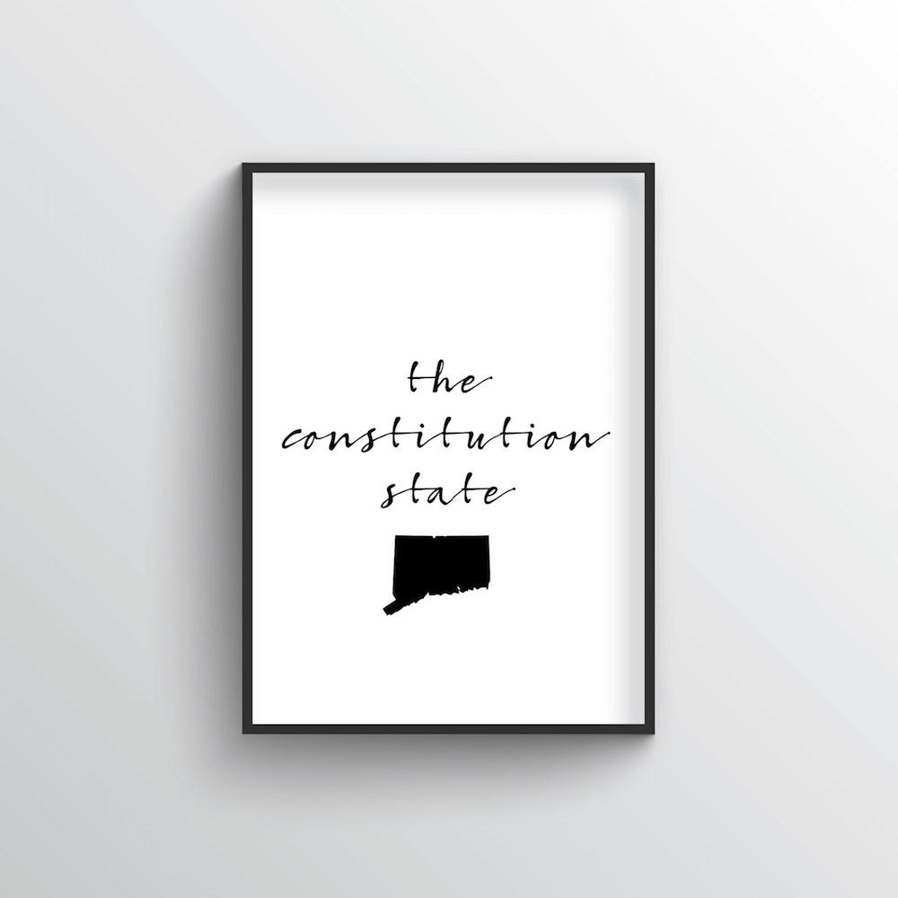 "Connecticut Word Art Print - ""Slogan"" - Point Two Design"