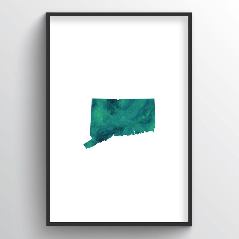 "Connecticut Word Art Print - ""Watercolor"" - Point Two Design"