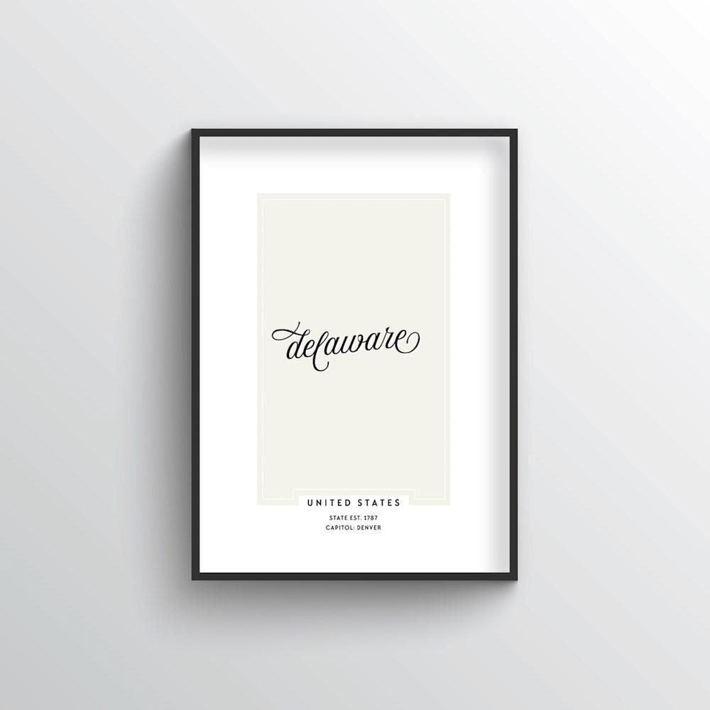 "Delaware Word Art Print - ""Script"" - Point Two Design"