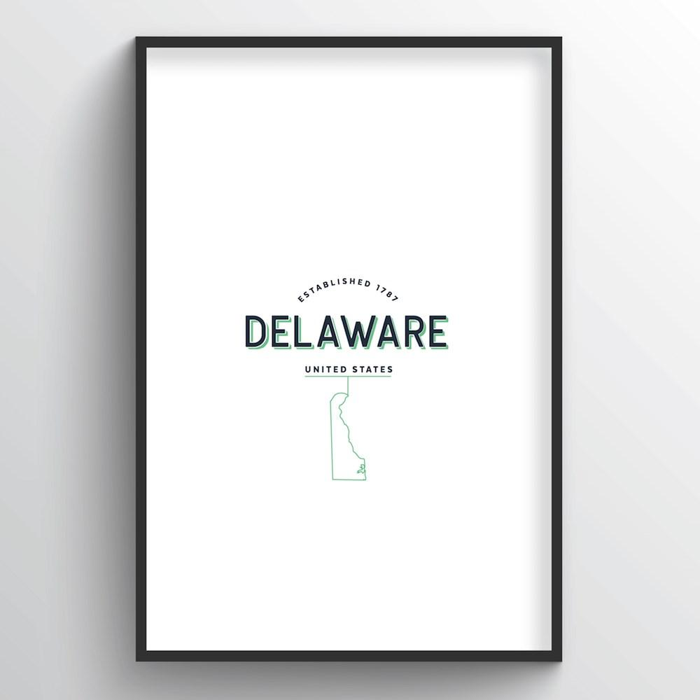 Delaware Word Art Print - State Line - Point Two Design