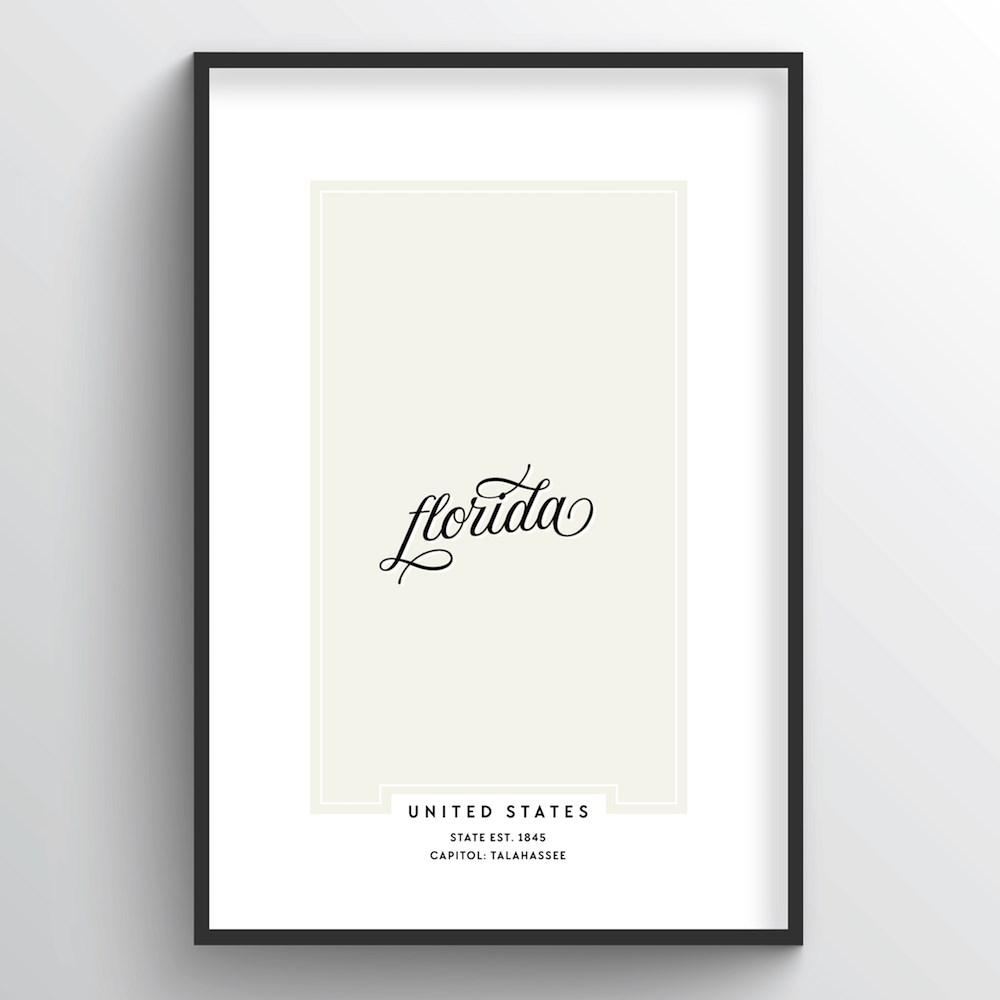 "Florida Word Art Print - ""Script"" - Point Two Design"