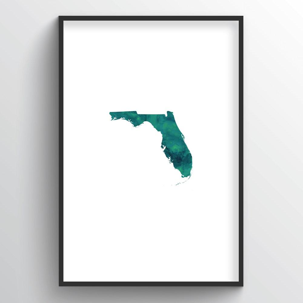 "Florida Word Art Print - ""Watercolor"" - Point Two Design"