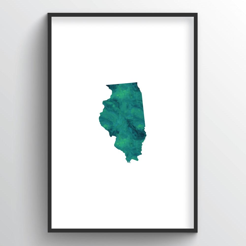 "Illinois Word Art - ""Watercolor"""