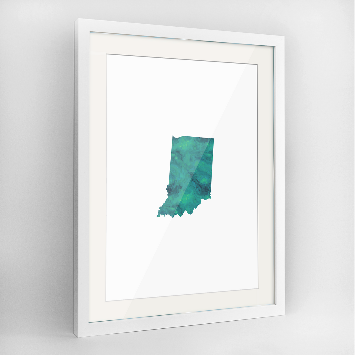 "Indiana Word Art Frame Print - ""Watercolor"""