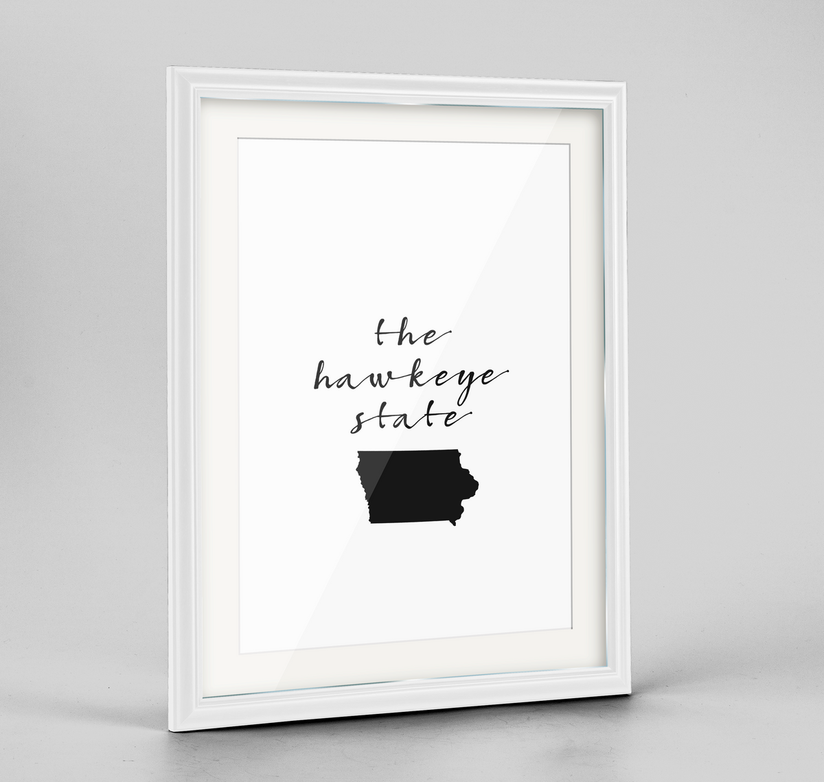 "Iowa Word Art Frame Print - ""Slogan"""