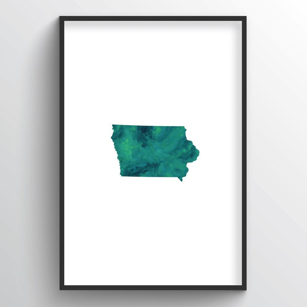 "Iowa Word Art - ""Watercolor"""