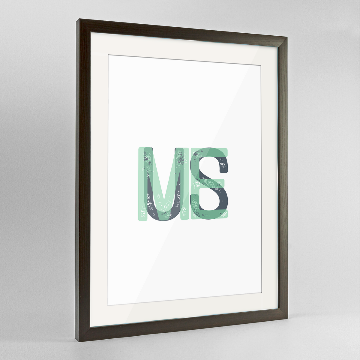 "Maine Word Art Frame Print - ""Initials"""