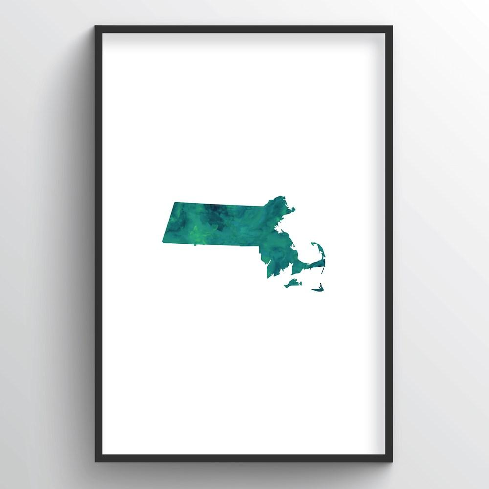 "Massachusetts Word Art - ""Watercolor"""