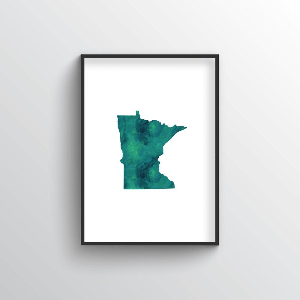 "Minnesota Word Art - ""Watercolor"""