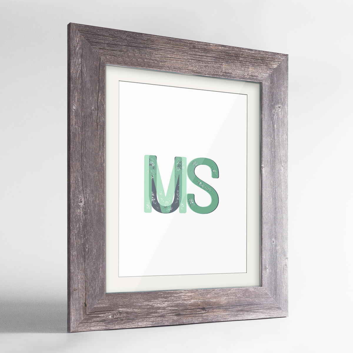 "Mississippi Word Art Frame Print - ""Initials"""