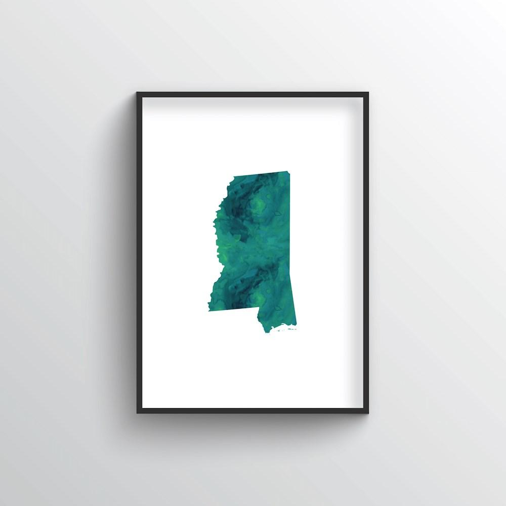 "Mississippi Word Art - ""Watercolor"""