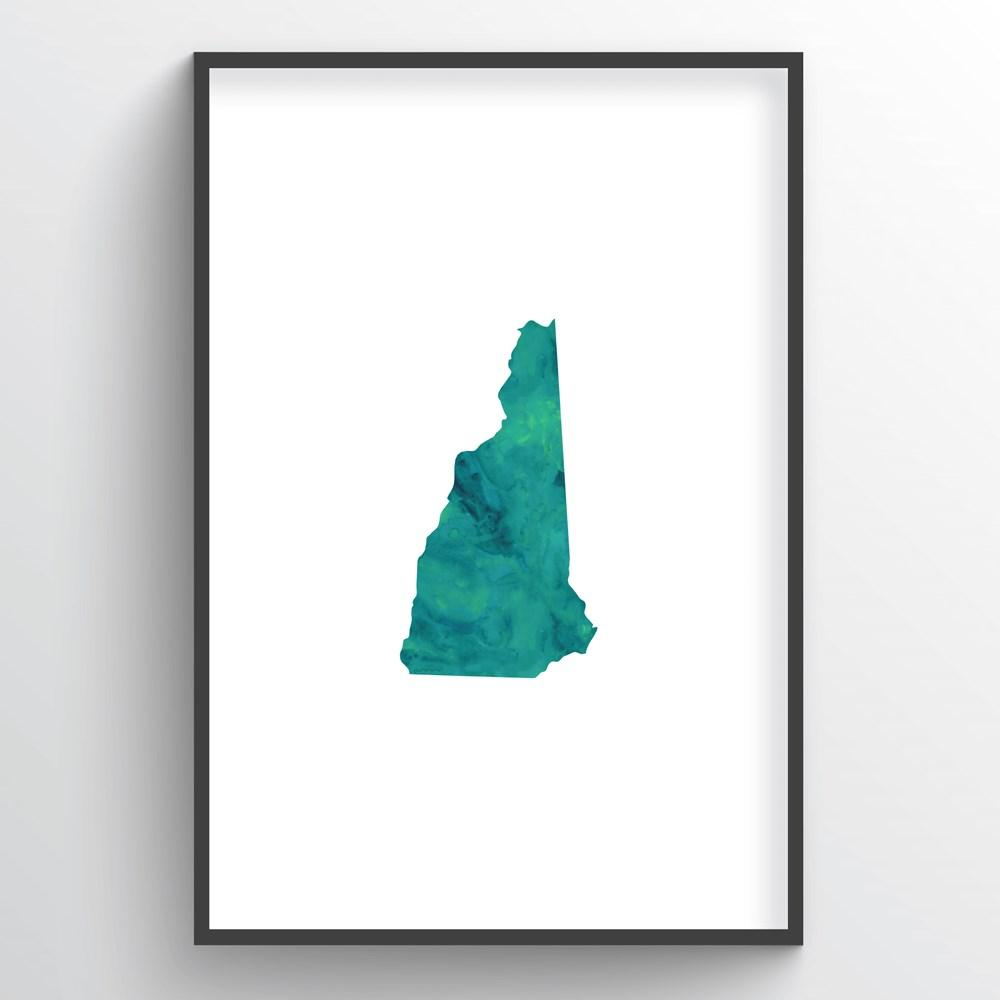 "New Hampshire Word Art - ""Watercolor"""