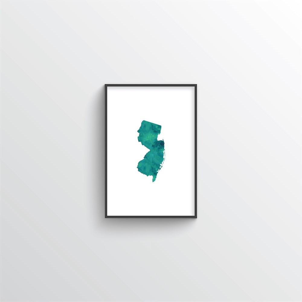 "New Jersey Word Art - ""Watercolor"""
