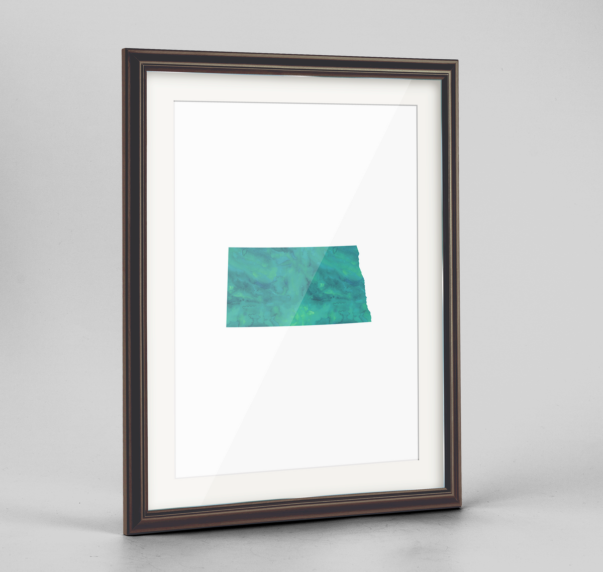 "North Dakota Word Art Frame Print - ""Watercolor"""