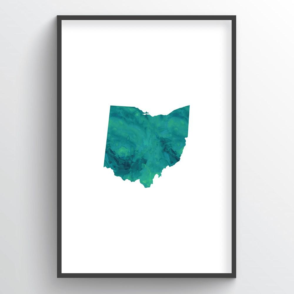"Ohio Word Art - ""Watercolor"""