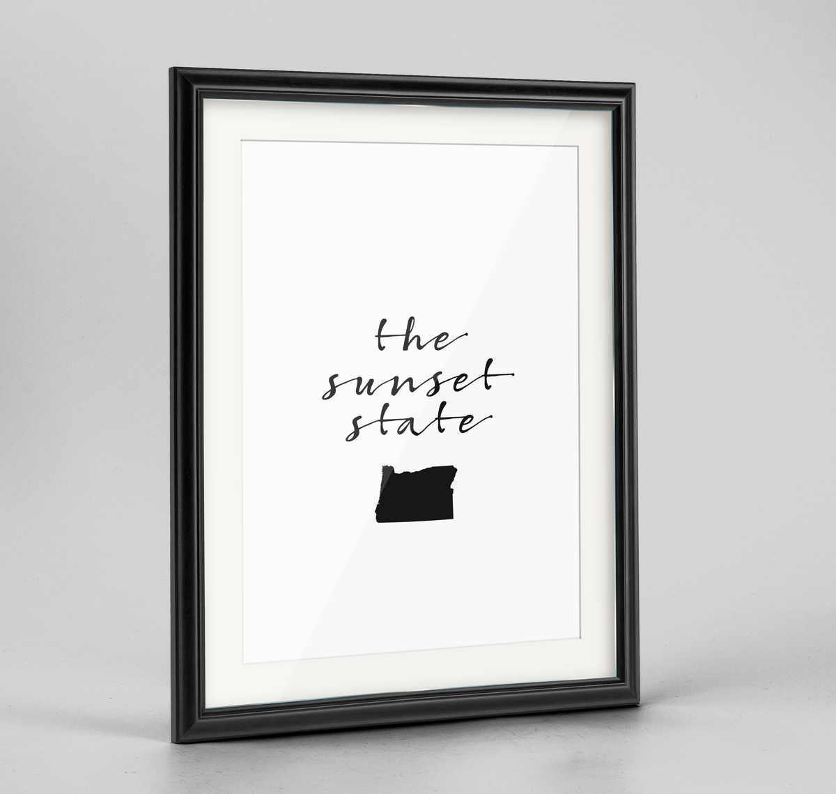 "Oregon Word Art Frame Print - ""Slogan"""