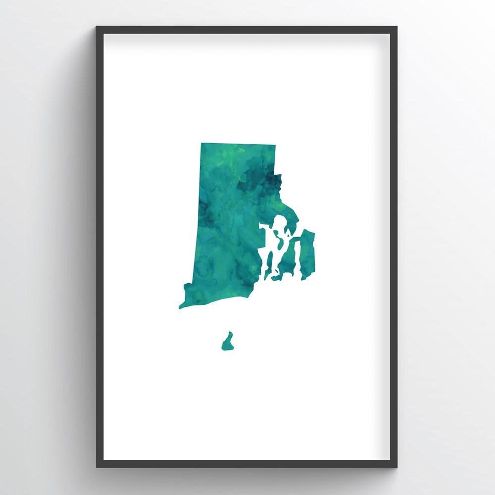"Rhode Island Word Art - ""Watercolor"""