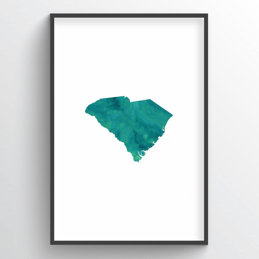 "South Carolina Word Art - ""Watercolor"""
