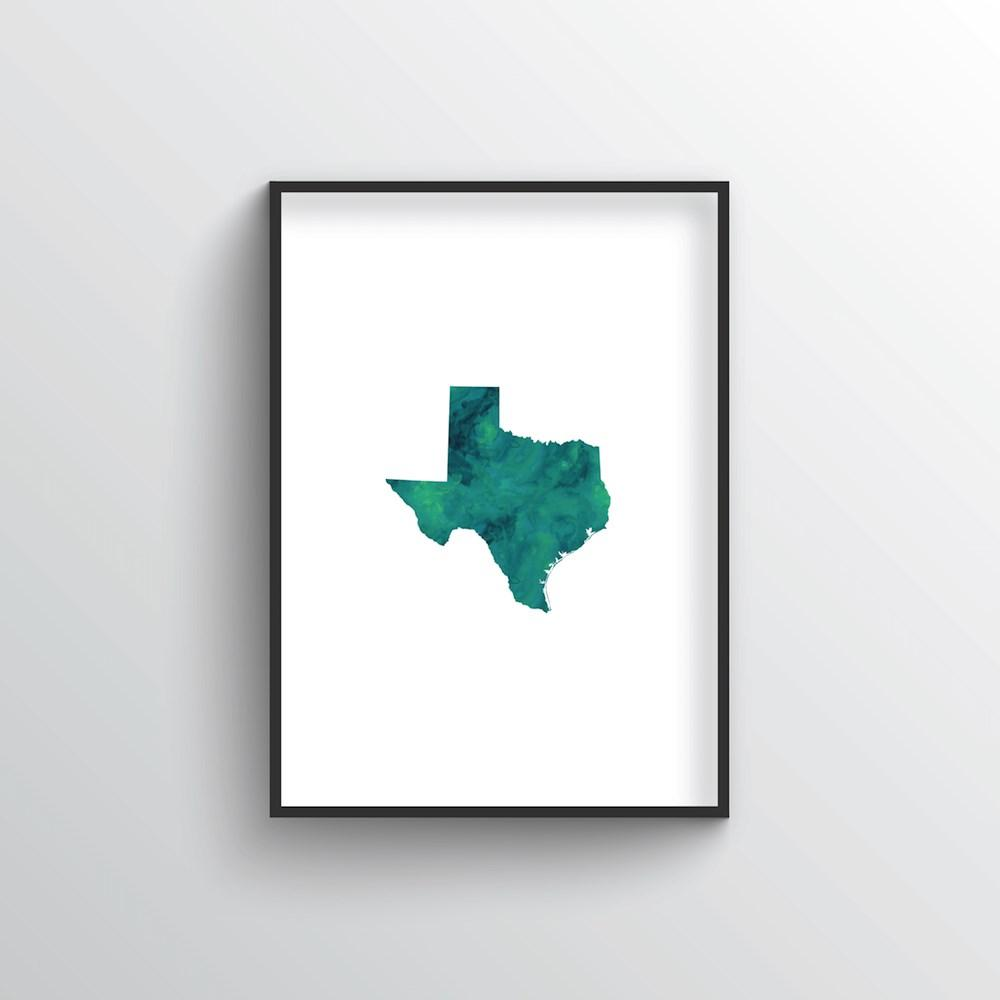"Texas Word Art - ""Watercolor"""